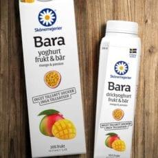 """""""Skånemejerier Bara"""" – Sveriges enda yoghurt utan tillsatt socker eller tillsatser – kommer nu med ny smak av Mango & Passion"""
