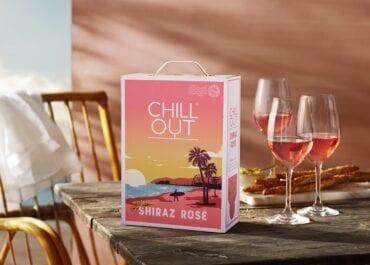 Ny, fruktig CHILL OUT Shiraz Rosé California i tillfällig sommardesign i retrostil